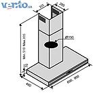 Ventolux Flat 60 BK/X (1200) декоративная кухонная вытяжка, нержавеющая сталь / черное стекло, фото 2