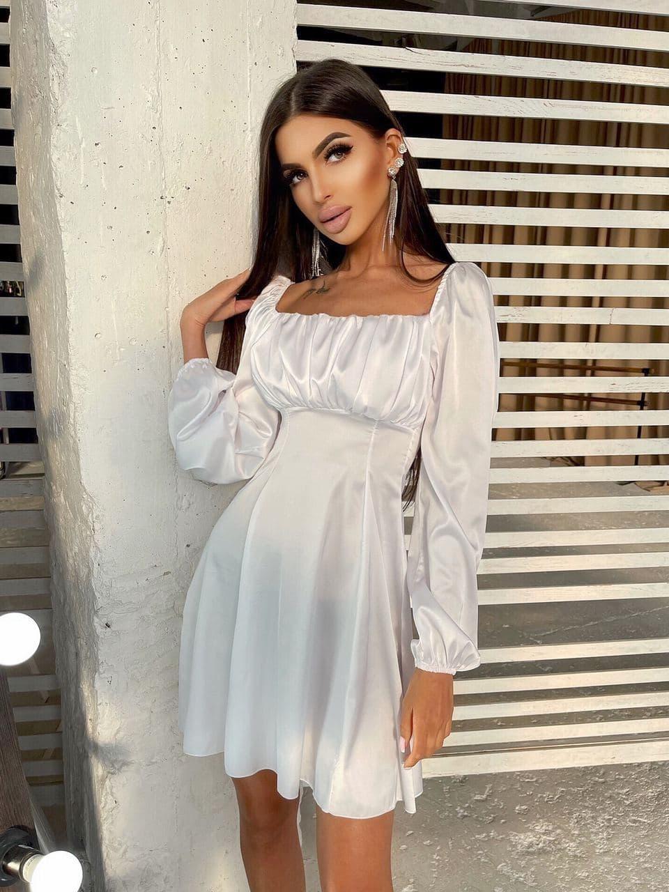 Шовкове приталену сукню зі складанням на грудях White