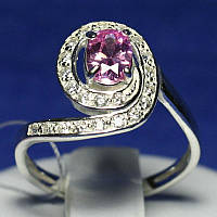 Серебряное кольцо с розовым фианитом 1007р, фото 1