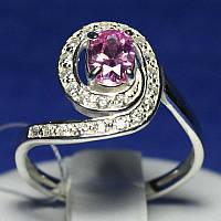 Кольцо из серебра с розовым фианитом 1007р, фото 1