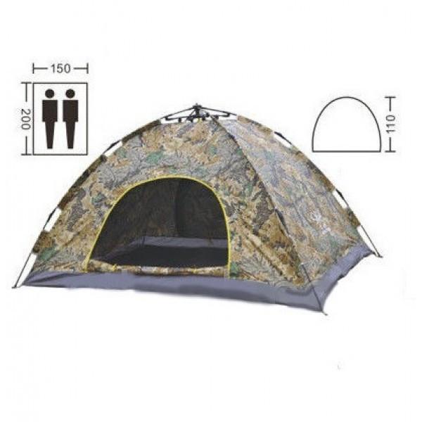 Палатка автоматическая 2-х местная туристическая 200х150 см, водонепроницаемая Камуфляж (хакки)