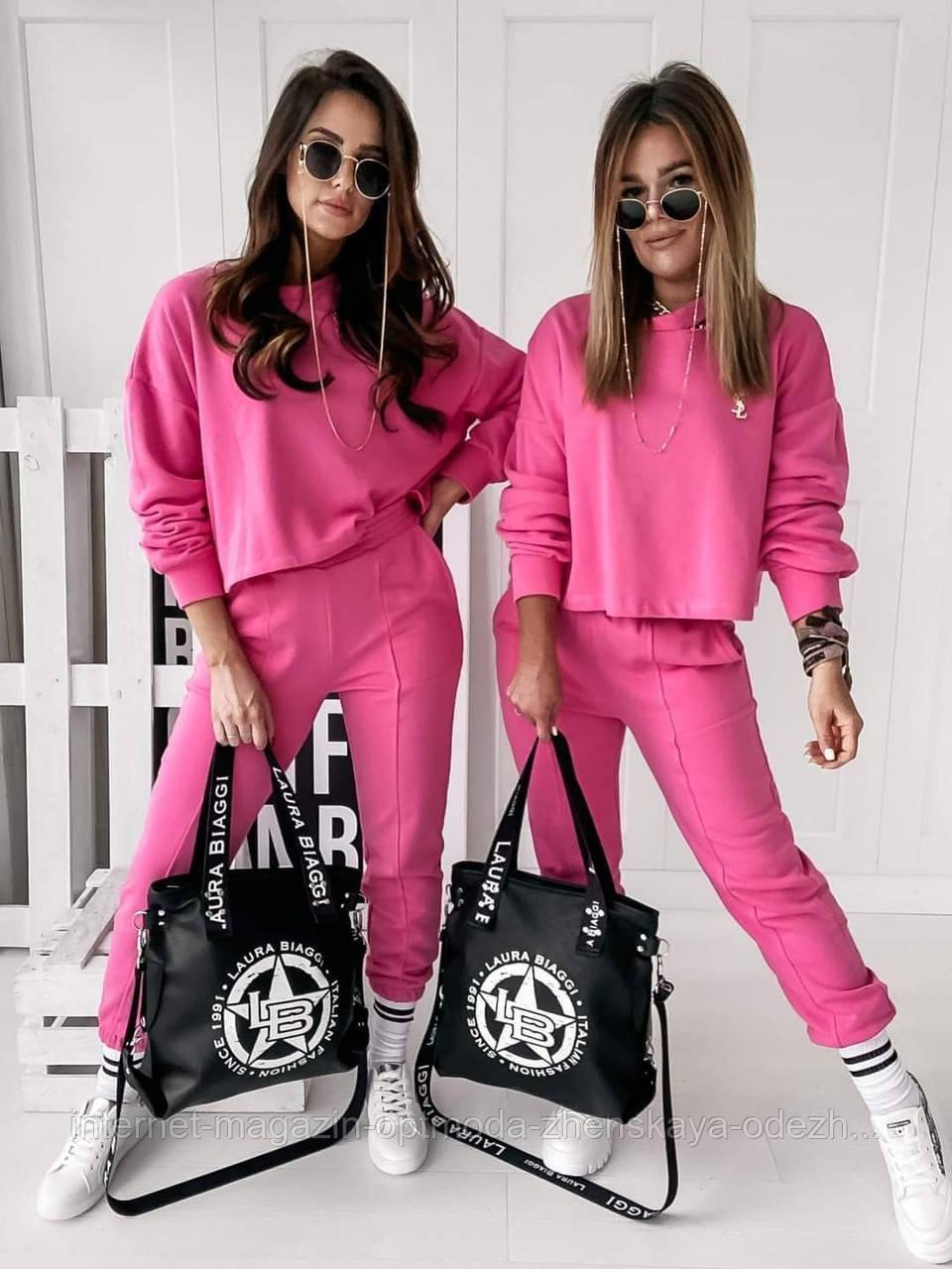 Костюми жіночі оптом - 7180-фг - Модний жіночий літній прогулянковий костюм зі штанами і вільної кофтою