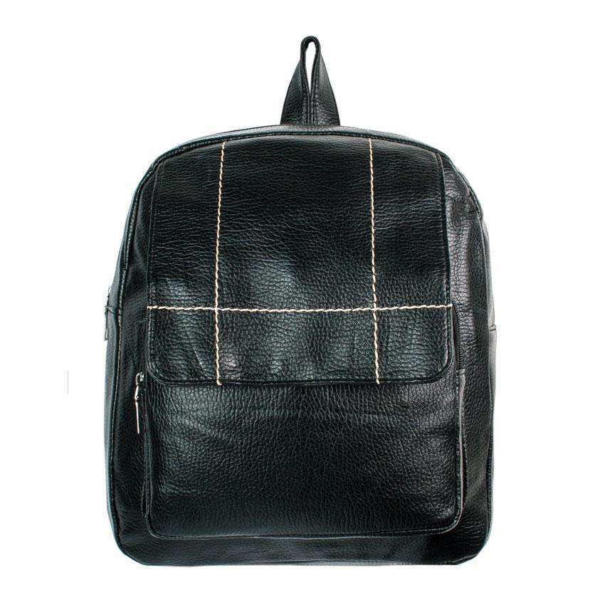 Рюкзак міський BackPack Кожзам 31х28х10 см Чорний (21414)