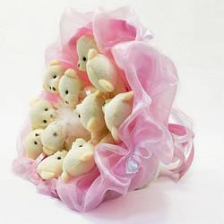 Букет з іграшок Igratoria Ведмедики 11шт. ніжно-рожевий (5347IT)