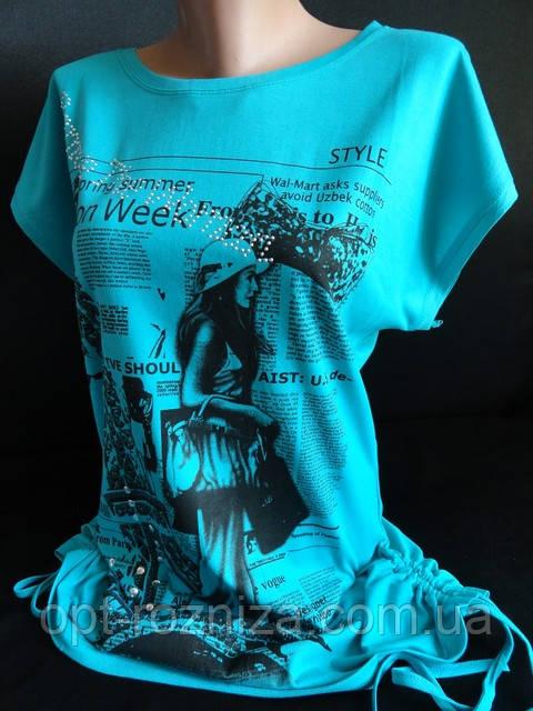 Женская футболка со шнурками по боках