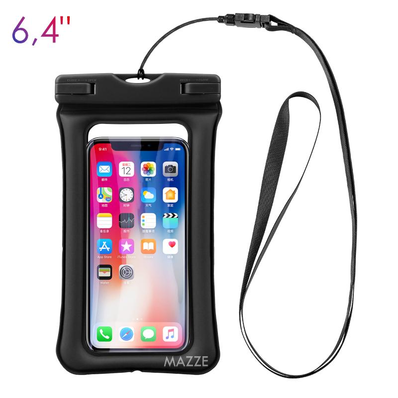 """Чехол-сумка водонепроницаемый IPX8 для телефона смартфона до 6.4"""" для подводной съемки сумка с воздушной"""
