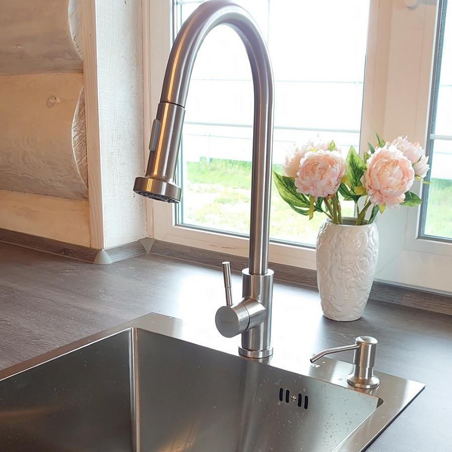 Смеситель кухонный Platinum 6045 BW с выдвижным изливом