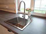 Смеситель кухонный Platinum 6045 BW с выдвижным изливом, фото 4