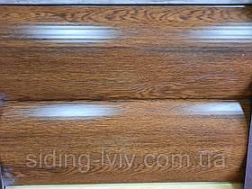 Блок хаус металевий сайдинг під колоду (під брус) золотий дуб широкий 0,35 см