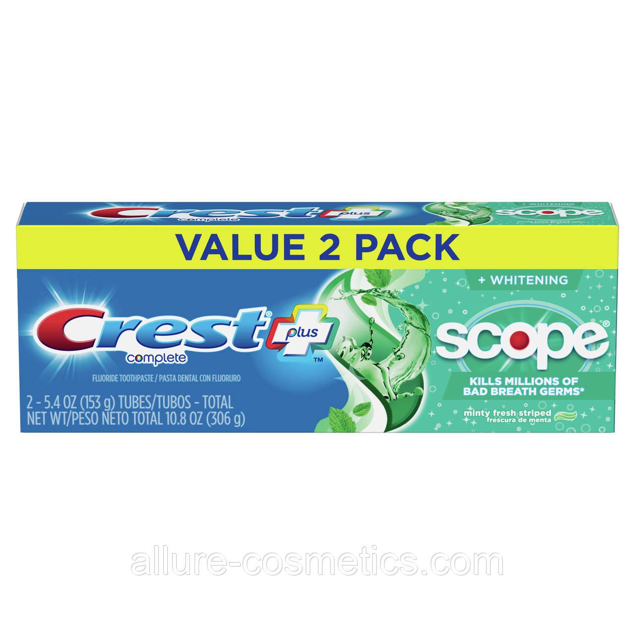 2x Зубна паста свіже дихання Crest Scope Toothpaste 306гр (Пакування із 2шт)