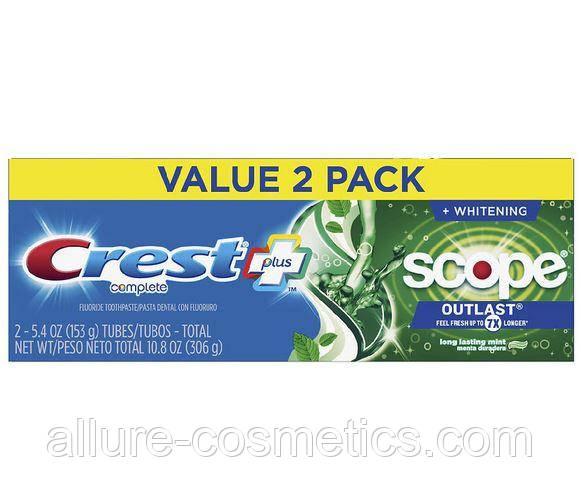 2x Зубна паста свіже дихання Crest Scope Outlast Toothpaste 306гр (упаковка з 2х шт)