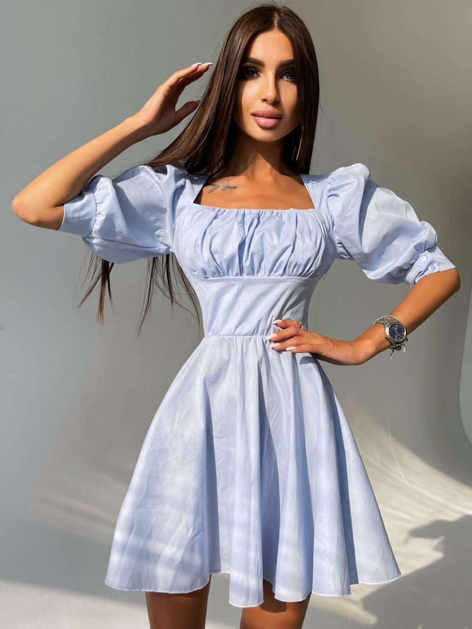 Сукня з об'ємними рукавами з бавовни Blue