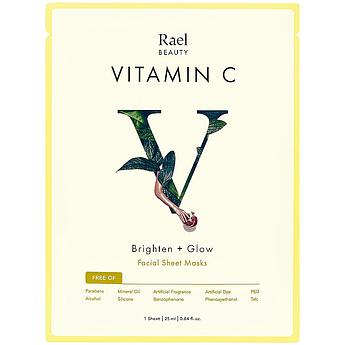 Маска для осветления и сияния кожи с витамином С Rael Beauty Brighten + Glow Facial Mask 25 мл