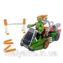 Набор Микеланджело и его транспорт - Michelangelo and moto-slider, 4Kids, 7СМ, Playmates