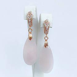 Серьги SONATA из медицинского золота, натуральный камень (розовый кварц), белые фианиты (куб. цирконий),
