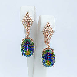 Серьги SONATA из медицинского золота, кристаллы Swarovski сине-фиолетового цвета, позолота PO, 25692