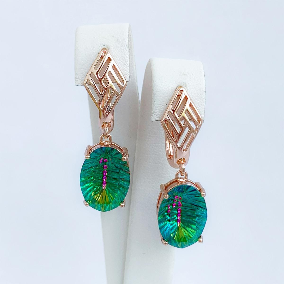 Серьги SONATA из медицинского золота, кристаллы Swarovski зеленого цвета, позолота PO, 25698