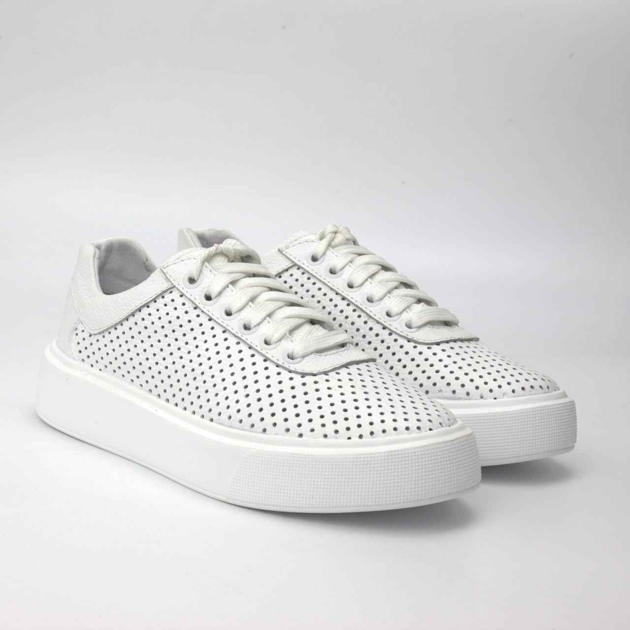 Білі кросівки з перфорацією шкіра жіноче взуття великих розмірів Rosso Avangard Mozza White ALL Perf EVA BS