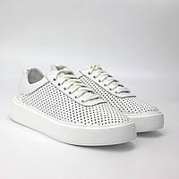 Білі кросівки з перфорацією шкіра жіноче взуття великих розмірів Rosso Avangard Mozza White ALL Perf EVA BS, фото 1