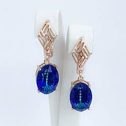 Серьги SONATA из медицинского золота, кристаллы Swarovski синего цвета, позолота PO, 25693
