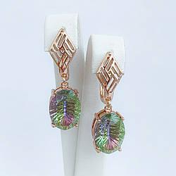 Серьги SONATA из медицинского золота, кристаллы Swarovski зелено-сиреневого цвета, позолота PO, 25694