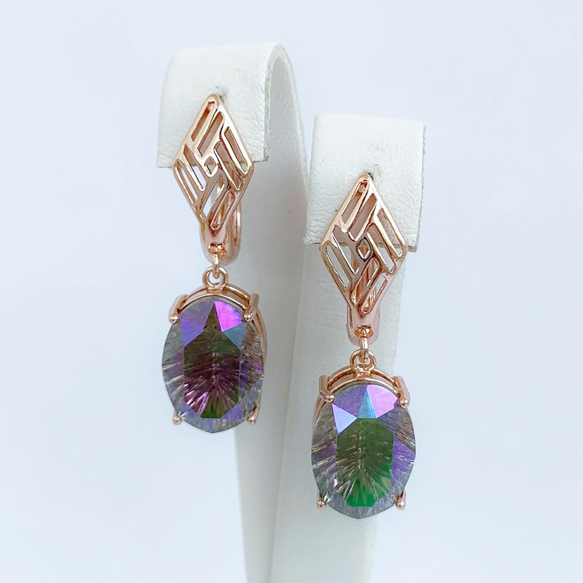 Серьги SONATA из медицинского золота, кристаллы Swarovski зелено-розового цвета, позолота PO, 25695