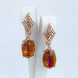 Серьги SONATA из медицинского золота, кристаллы Swarovski  оранжево-желтого цвета, позолота PO, 25696