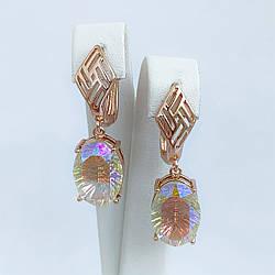 Серьги SONATA из медицинского золота, кристаллы Swarovski цвета Хамелеон, позолота PO, 25697