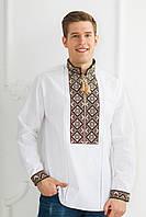 Чоловіча вишита сорочка Скиба СК1024 бежевий візерунок р. 43