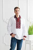 Чоловіча вишита сорочка Скиба СК1024 червоно-чорний візерунок р. 39