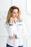 Жіноча блуза з вишивкою Скиба СК2581 біла з бірюзово-чорним візерунком р.44