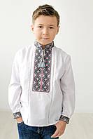 Вишита сорочка для хлопчика Скиба СК3062 з рожево-чорним візерунком р. 140