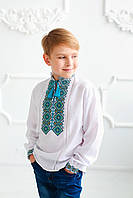 Вишита сорочка для хлопчика Скиба СК3062 з бірюзовим візерунком р. 104