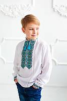 Вишита сорочка для хлопчика Скиба СК3062 з бірюзовим візерунком р. 128