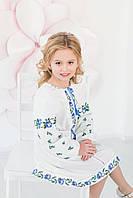 Вишита сукня Скиба СК4162 з блакитним квітковим орнаментом р.146