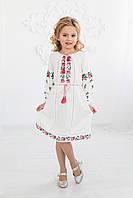 Вишита сукня Скиба СК4162 з рожевим квітковим орнаментом р.140