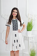 Жіноча вишита сукня Скиба СК6621 білий з візерунком р.38