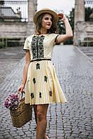 Жіноча вишита сукня Скиба СК6621 молочний з візерунком р.40