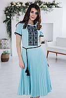 Жіноча вишита сукня Скиба СК6622 бірюзовий з візерунком р.34