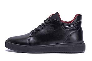 Мужские зимние кожаные ботинки ZG Black Red Premium Quality р. 42