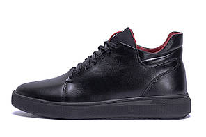 Мужские зимние кожаные ботинки ZG Black Red Premium Quality р. 43