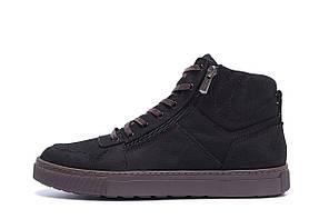 Мужские зимние кожаные ботинки ZG Black Exclusive New р.40