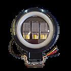 Фара светодиодная LED противотуманная круглая 30W + LED кольцо с четкой световой границей, фото 10