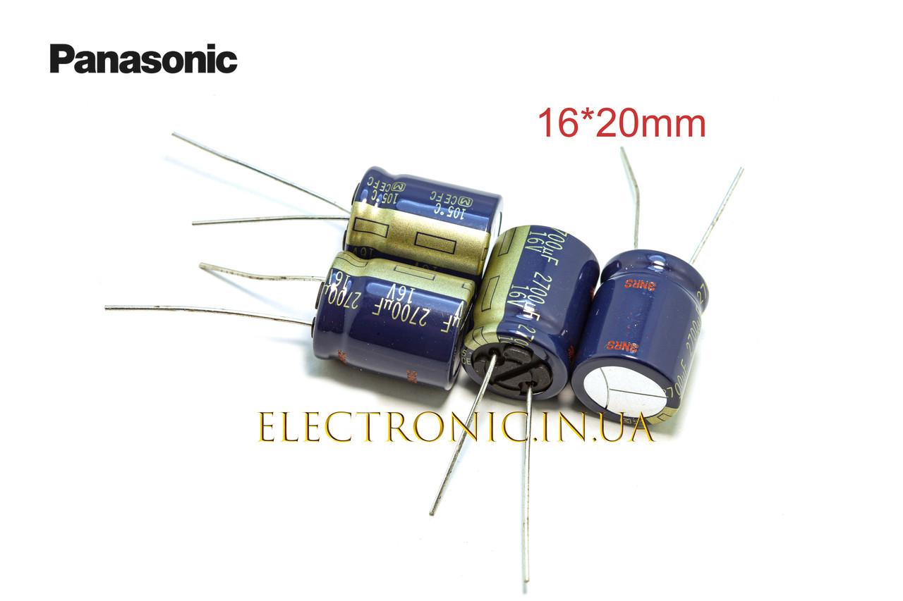 Panasonic FC series 2700 мкФ 16 В 16*20 мм.