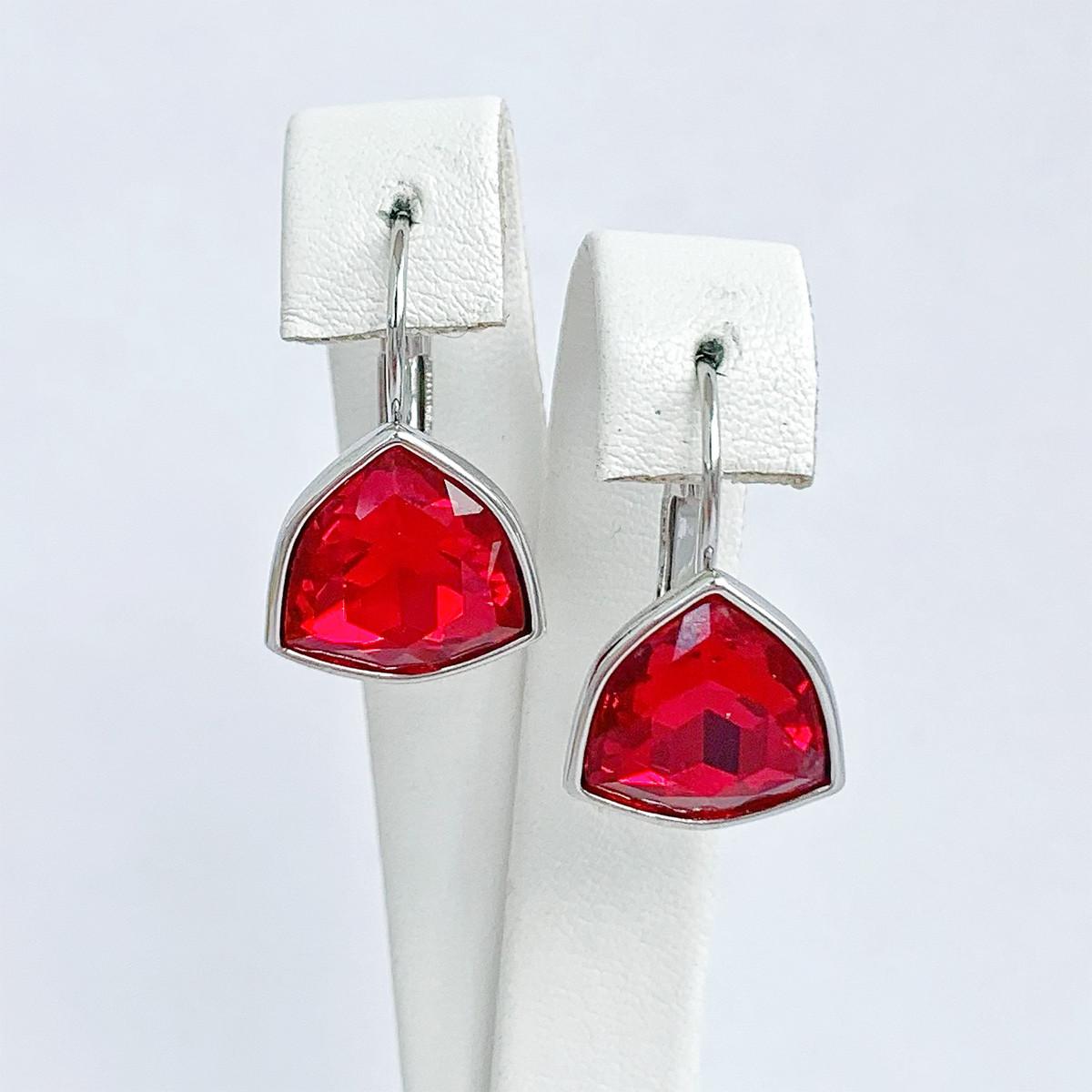 Серьги SONATA из медицинского золота, кристаллы Swarovski красного цвета, родий, 25724