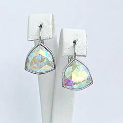 Серьги SONATA из медицинского золота, кристаллы Swarovski цвета Хамелеон, родий, 25726