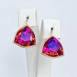 Серьги SONATA из медицинского золота, кристаллы Swarovski  фиолетово-розового цвета, позолота PO, 25722