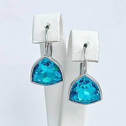 Серьги SONATA из медицинского золота, кристаллы Swarovski голубого цвета, родий, 25723