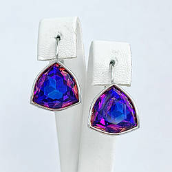 Серьги SONATA из медицинского золота, кристаллы Swarovski фиолетово-синего цвета, родий, 25732