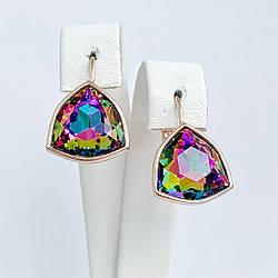 Серьги SONATA из медицинского золота, разноцветные кристаллы Swarovski, позолота PO, 25718